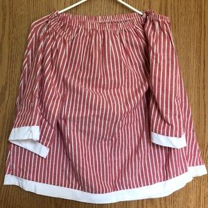 Never Worn Open Shoulder Red and White Striped Top